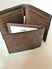 COACH MEN'S COMPACT ID  Signature C 2 piece Leather Wallet NWT F75371 Mohogany