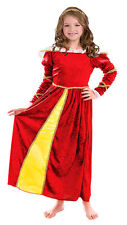 GIRLS RED TUDOR QUEEN ELIZABETH BOOK WEEK LONG MEDIEVAL DRESS COSTUME NEW 7-10