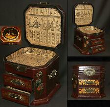 B chine art d'Asie Coffret à bijoux 20cm boite à secrets bois laqué cigognes