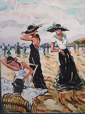 OIL ON CANVAS PAINTING A STUDY OF LADIES ON A BEACH