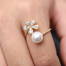 Women Fashion Rings Daisy Flower Pearl Crystal Gold Finger Adjustable Open Ring