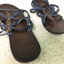 WOMANS HOLLISTER CALIFORNIA SANDAL ANKLE BLUE STRAP BROWM SOLE MIDDLE PRONG
