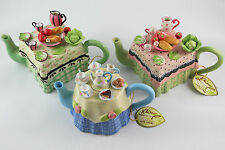 Set of 3 Khien Ceramics Miniature Hand Painted Teapots with Tag