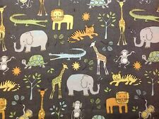 ~FLANNEL~Jungle~Elephant~Monkey~Childrens~Quilting~Fabric~Flannelette~Baby~FQ