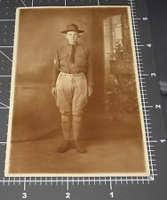 WWI Army Soldier Man Uniform Military Hat Spats Handsome RPPC Vintage PHOTO #3