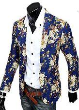 Men's Floral Print Casual Slim Fit Lapel Blazer Suit One Button Jacket Coat Tops