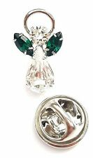 Elements Birthstone Guardian Angel Pin May Emerald with Swarovski Crystal