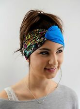 Blue Turban HeadBand Couture Chain Twist Jersey Head Wrap Yoga High quality