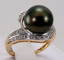 11.25mm Tahitian Cultured Pearl w/Accents 10k Solid Yellow Gold Ring Size 6