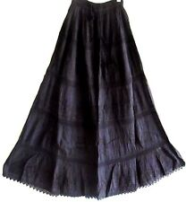 GYPSY BLACK EMBROIDERED ELASTIC CROCHET LACE & COTTON MAXI SKIRT 12 14 16 18 20