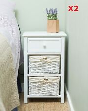 Set of 2x Shabby Chic Tall Bedside Drawer Unit Table Storage Bathroom Bedroom