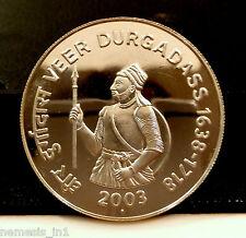 Republic India 2003 100 Rupees Rs Silver Coin Veer Durgadass Commemoratve.