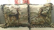 "A Pair of Deer 100% Wool Handmade Needlepoint Decorative Pillows 22""x22"""