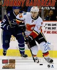Johnny Gaudreau Calgary Flames Signed Autographed 1st NHL Game Goal Montage 8x10