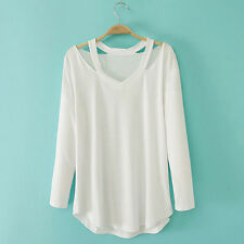 Women V-neck Plus Size Tops Loose Long Sleeve T-Shirt Casual Blouse White S