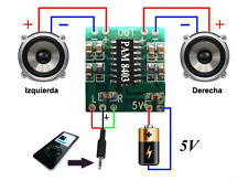 Mini Digital Amplificador potencia Audio 2,5V - 5V 3W AMP Module 5V USB PAM8403