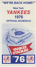 NY Yankees 1976 Official Schedule - year they won pennant - returned to Stadium