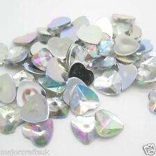 100x Crystal AB 10mm FlatBack Heart Pointed Spikey Resin Rivoli Rhinestones Gems