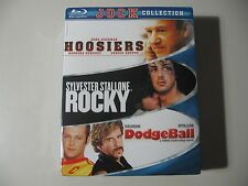 Jock Collection: Hoosiers/Rocky/Dodgeball (Blu-ray Disc, 2009, 3-Disc Set) NEW
