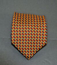 Classic Battistoni Red & Orange Weave w/Green & White Dots Handmade in Italy