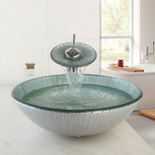 Lines Hand Paint Washbasin Tempered Glass Basin Sink & Brass Faucet mixer tap