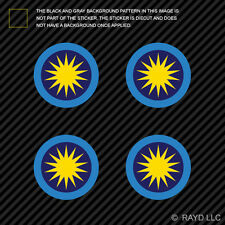 """(4x) 1.5"""" Royal Malaysian Air Force Roundel Sticker Die Cut RMAF Malaysia MYS MY"""