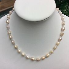 Mauve cultured freshwater Pearl Necklace, crystals, handmade, 19 inches