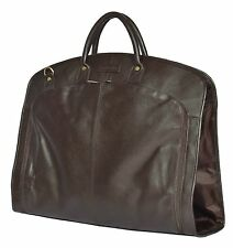 BROWN Real Leather Suit Carrier Dress Garment Cover Soft Travel Cabin Bag HANZ