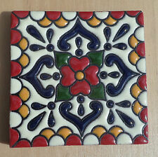 "8~Talavera Mexican 4"" tile Hi Relief TRUE RED Cobalt Blue Green Gold cream white"