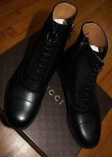 AUTHENTIC! $750 GUCCI SHANGHAI BLACK LEATHER BOOTS SZ 9.5G/ 10 us