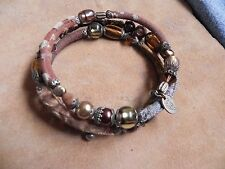 Ayala Bar Cerise Hip Coil Wrap Bracelet Brown, Beige & Blue fabric & beads