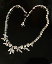 Elegant Vintage Signed Sherman Necklace Rhinestone Jewelry