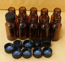 10 AMBER Bottles 1/2 oz 15 ml Clear Boston Round Glass With Black Cap FREE SHIP