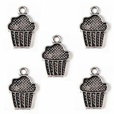 10 Tibetan Silver Cup Cake Pendant Charms Muffin