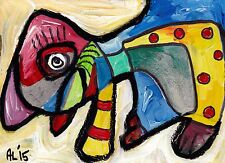 Original LABEDZKI abstract figurative outsider art POOCH 4x5.5 inch on paper