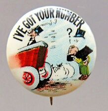 1910 Bud Fisher MUTT & JEFF Got Your Number Hassan Cigarette pinback button *