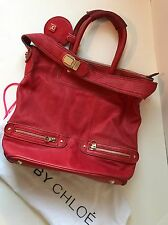 Authentic See By Chloe Satchel Shoulder Bag W/ Dustcover Red