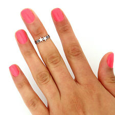 sterling silver 925 Star design above knuckle ring adjustable midi ring (T-113)