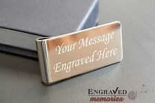 Personalised Silver Plated Money Clip & Gift Case ENGRAVED FREE P&P