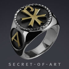 CHI-RO - JESUS ALPHA OMEGA SILVER 925 STERLING RING with 24K GOLD-PLATING