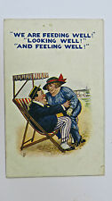 1910s HB Ltd Seaside Comic Postcard By Artist FW Fat Man BBW Fat Lady Deckchair