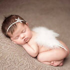 Cute Baby Newborn White Angel Feather Wings&Headband Costume Photo Prop Outfit