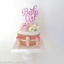 'Baby Girl' Bright Pink Glitter Cake Topper, Baby Shower Cake Topper Decoration