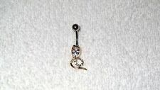 Clear Stone Cobra Snake Gold Tone Belly Button Navel Ring Body Jewelry Piercing