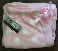 NWT Ladies Super Soft Pink White Polka Dot Fleece Plush Pants Bottoms XXL 2XL