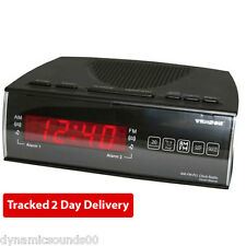 Texson CR-57 FM/AM Dual Alarm Clock Radio with Red LED Digital Time Display
