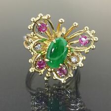 Estate 14k Yellow gold Natural A Grade Jade Jadeite Ruby Diamond Butterfly Ring