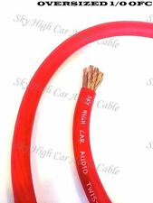20 ft OFC 1/0 Gauge Oversized RED Power Ground Wire Sky High Car Audio