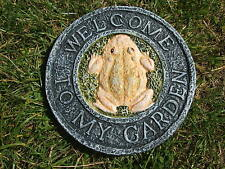 LATEX MOULD/MOULDS/MOLD.  WELCOME TO MY GARDEN WALL PLAQUE WITH FROG