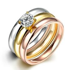 Gold Silver Rose CZ Stainless Steel Three Ring Set Women&Man's Wedding Jewelry